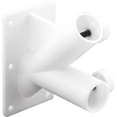 Picture of U 9374 - Double Flag Pole Holder, White UV Resistant Plastic, Fits up to 1 inch Poles