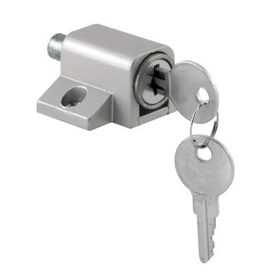 Picture of U 9861 - SLIDING DOOR KEYED LOCK, PUSH-IN, ALUMINUM FINISH