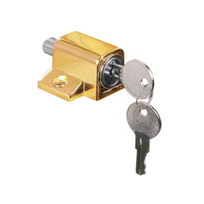 Picture of U 9863 - Brass Plated Keyed Wood Sash Window Lock with Bolt
