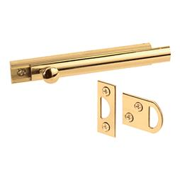 "Picture of U 9961 - Surface Bolt, 4"", Solid Brass, Polished Brass Finish"