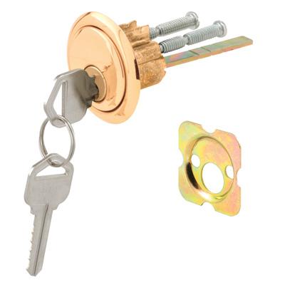"""Picture of U 9965 - Rim Cylinder Lock, 3/4"""" HC, Diecast, Brass Plated, Kwikset"""